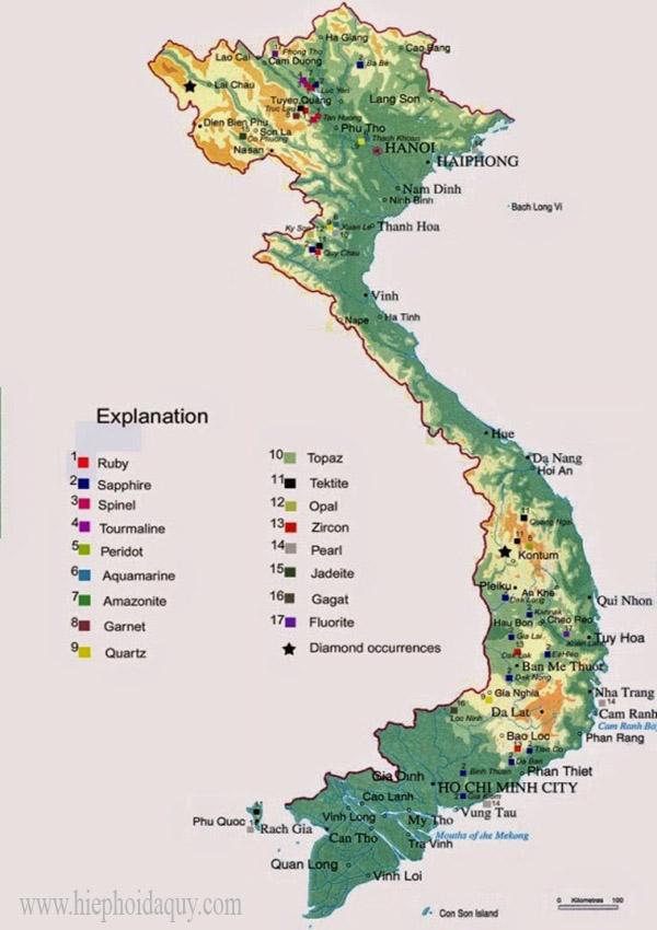 Bản đồ phân bố đá quý Việt Nam